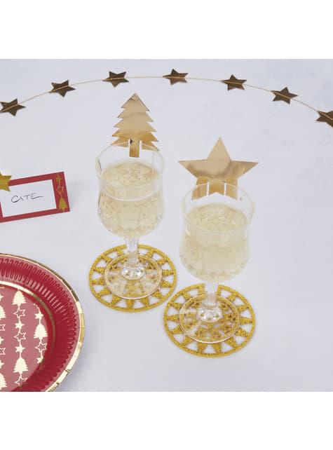 11 décorations dorées pour verre  - Winter Wonderland