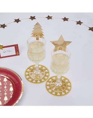 10 muggdekorationer guldfärgade - Dazzling Christmas