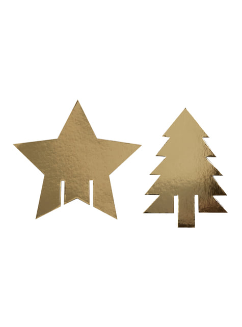 10 adornos para vasos en dorado - Dazzling Christmas - para tus fiestas