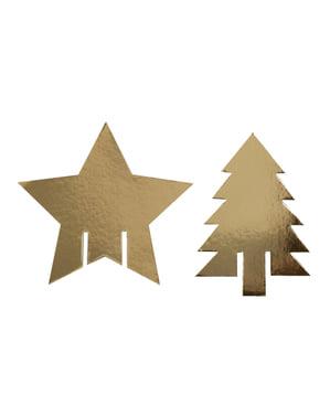 Sada 10 dekorací na kelímky zlatých - Dazzling Christmas