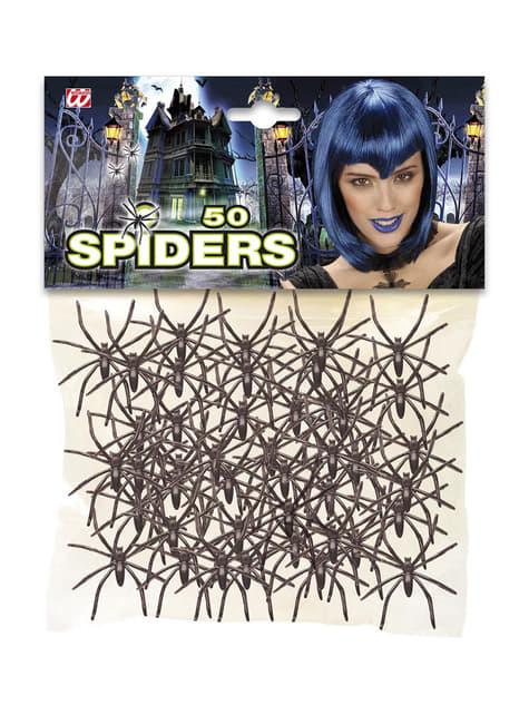 50 arañas negras Halloween - para tus fiestas