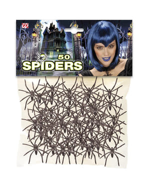 50 black spiders