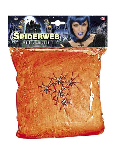 Telaraña naranja con arañas 100 gr