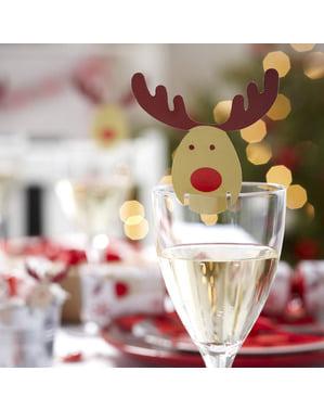 10 aornamenti per bicchieri con renna - Winter Wonderland
