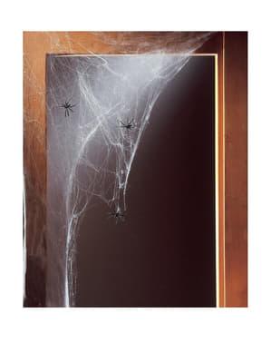 Toile d'araignée blanche avec 20 araignées 500 gr
