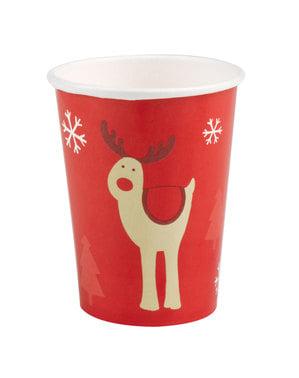 Комплект от 8 чаши за северни елени - Рокинг Рудолф