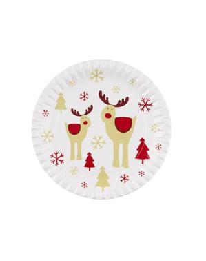 8 papperstallrikar med ren (23 cm) - Rocking Rudolf