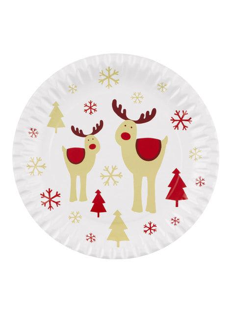 8 platos de reno (23 cm) - Rocking Rudolf