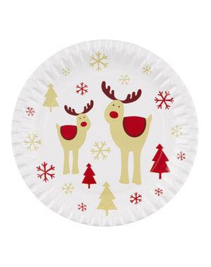8 reinsdyr tallerkener - Rocking Rudolf
