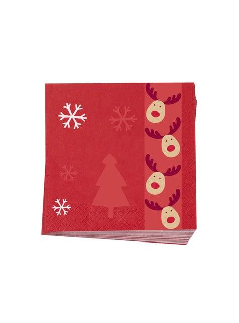 16 servilletas de papel (33x33 cm) - Rocking Rudolf - para tus fiestas