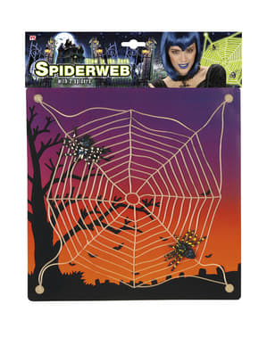 Glow-in-the-dark Cobweb with Spiders