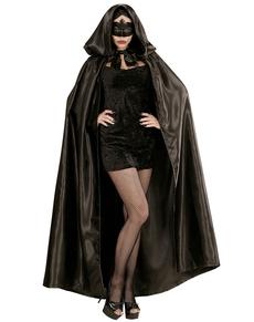 black satin coat with hood