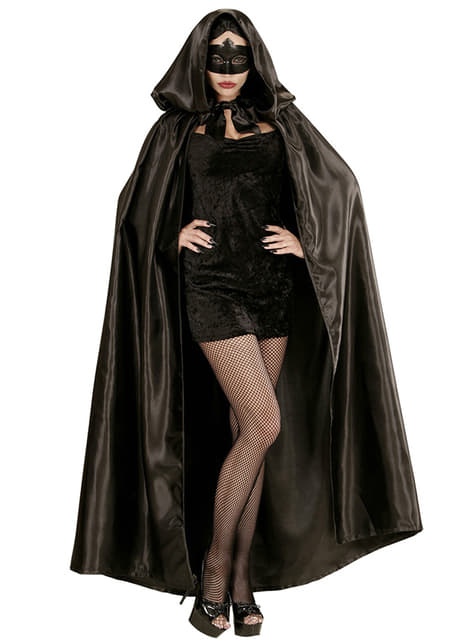 Black satin cape with hood