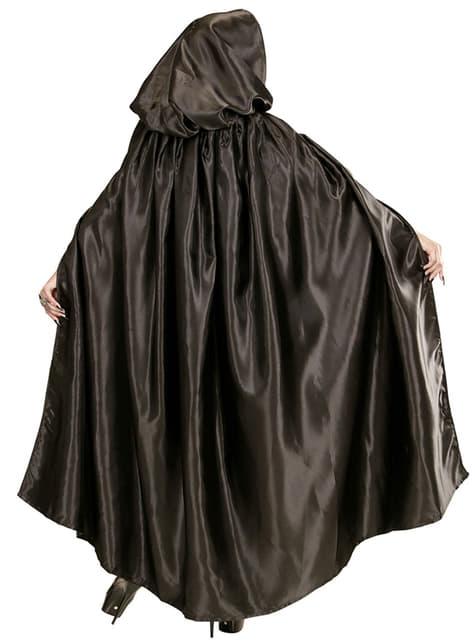 Crni satenski kaput s kapuljačom