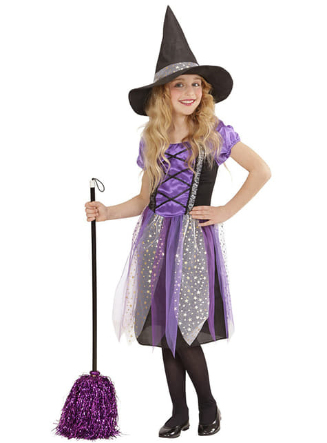 Strój czarownica w gwiazdki dla dziewczynki
