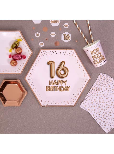 8 platos hexagonales