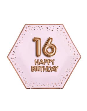 """8 """"16 Happy Birthday"""" Kuusikulmaista Paperilautasta – Glitz & Glamour Pink & Rose Gold"""