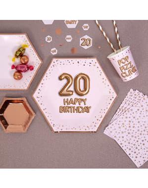 """8 """"20 Happy Birthday"""" Kuusikulmaista Paperilautasta – Glitz & Glamour Pink & Rose Gold"""