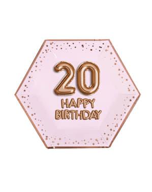 """Zestaw 8 sześciokątne papierowe talerze """"20 Happy Birthday"""" - Glitz & Glamour Pink & Rose Gold"""