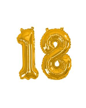 """Kultainen """"18"""" Folioilmapallo - Glitz & Glamour Black & Gold 40cm"""