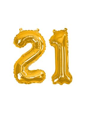 """Golden """"21"""" folijos balionas - Glitz & Glamour Black & Gold 40cm"""