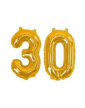 """Kultainen """"30"""" Folioilmapallo - Glitz & Glamour Black & Gold 40cm"""