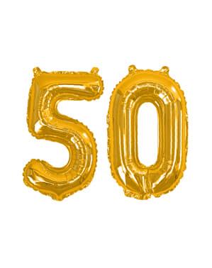 """Złoty balon foliowy """"50"""" - Glitz & Glamour Black & Gold 40cm"""