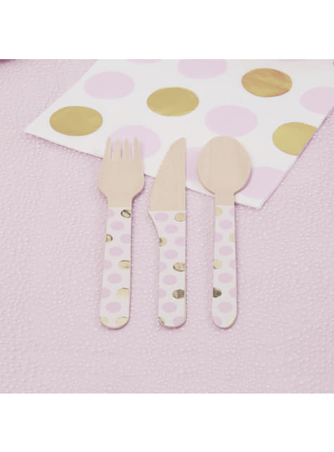 24-Piece Pink Dots Wooden Cutlery Set- Pattern Works