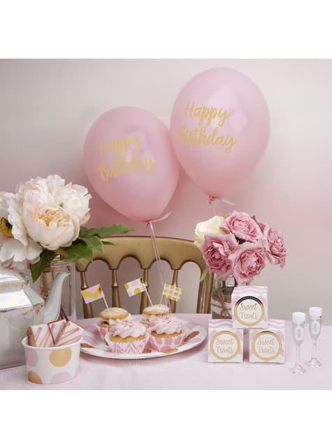 8 globos rosas Happy Birthday (30 cm) - Pattern Works Pink