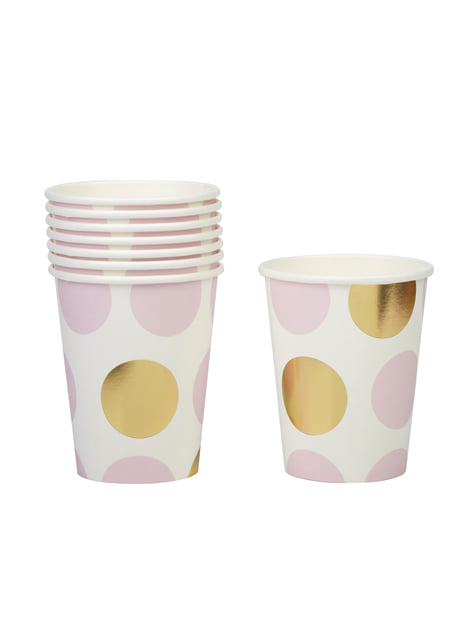 8 Pink & Gold Dots Paper Cups - Pattern Works