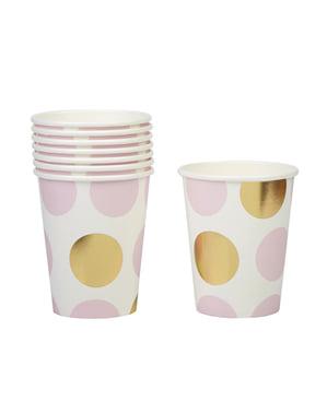Pappbecher Set 8-teilig mit rosa und goldenen Punkten - Pattern Works