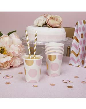 8 vasos de lunares rosas y dorados - Pattern Works Pink