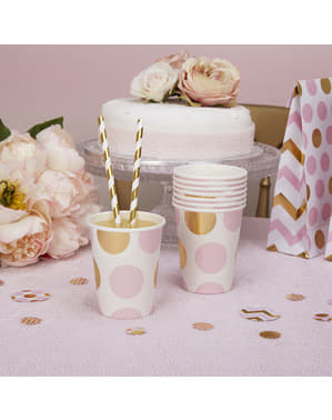 8 papieren bekers met roze & gouden stippen  - Patroon Werken