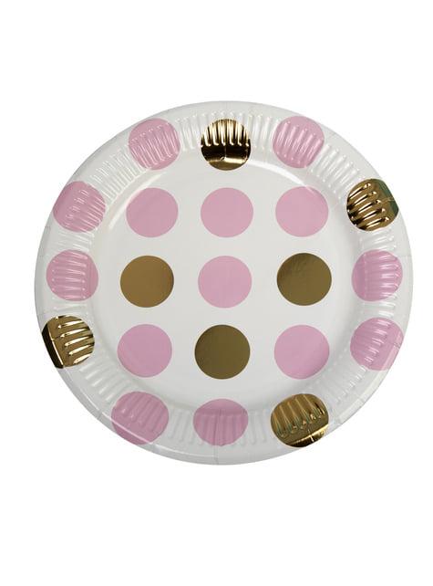 8 platos de lunares rosas y dorados (23cm) - Pattern Works Pink