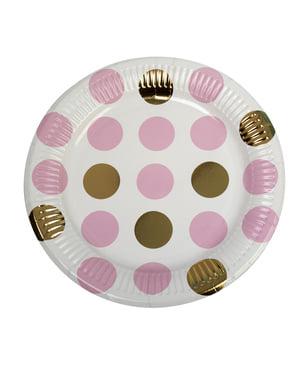 8 Pink & Guld Prikkede Papirtallerkne (23cm) - Pattern Works