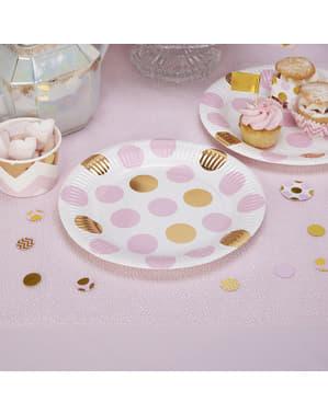 ピンク&ゴールドドット紙皿8枚セット - パターンワークス