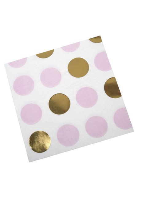Conjunto de 16 guardanapos de pintas cor-de-rosa e douradas de papel - Pattern Works