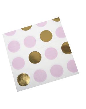 16 pappersservetter rosa och guldfärgade prickar  (33x33 cm) - Pattern Works