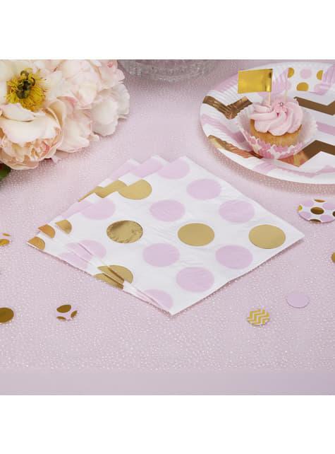 16 serviettes à pois roses et dorées en papier - Pattern Works