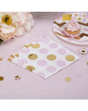 16 papieren servetten met roze & gouden stippen (33x33 cm) - Patroon Werken