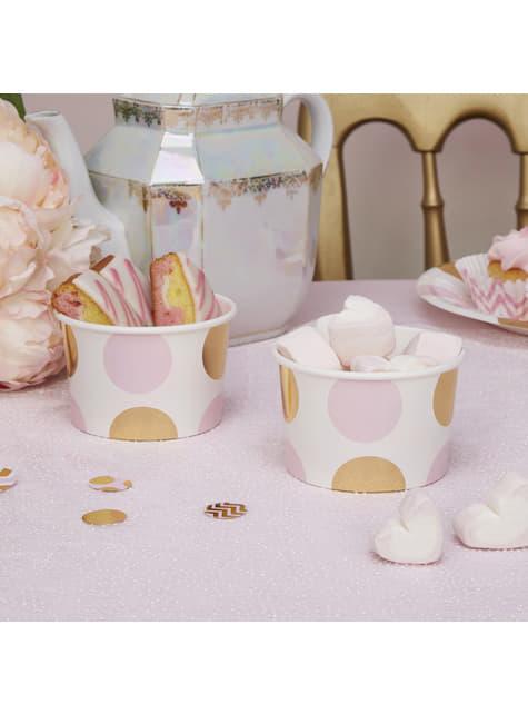 8 tarrinas de lunares rosas y dorados - Pattern Works Pink - para tus fiestas