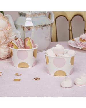8 små pappersskålar prickiga rosa och guldfärgade  - Pattern Works