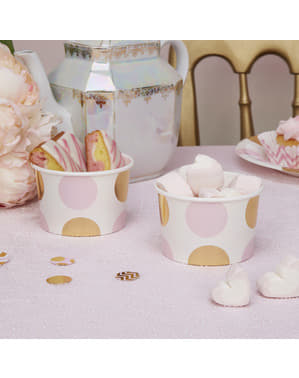 8 Pink & Gold Dots Paper Treat Tubs - Pattern Works