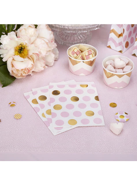 25 bolsitas lunares rosas y dorados - Pattern Works Pink - para tus fiestas
