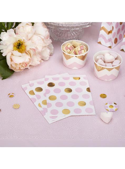 25 sacchetti di carta a pois rosa e dorati - Pattern Works