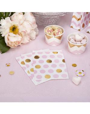 25 Pink & Guld Prikkede Papirposer - Pattern Works