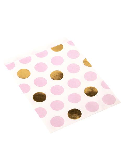 Set de 25 bolsitas de lunares rosas y dorados de papel  - Pattern Works