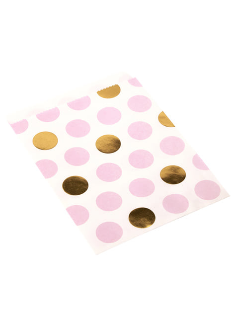 Set of 25 Pink & Gold Dots Paper Bags - Pattern Works