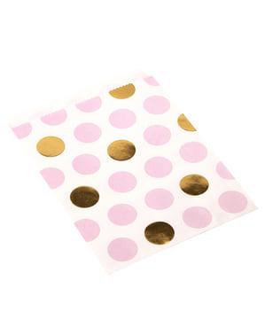 25ピンク&ゴールドドット紙袋 - パターン作品のセット