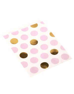 Papiertüten Set 25-teilig mit rosa und goldenen Punkten - Pattern Works